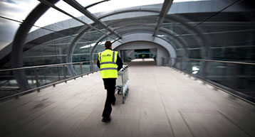 T2 walkway with Dublin Airport staff